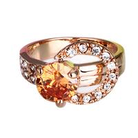 Fashion Jewelery Shinny Zircon Wedding Band Gold Plated Women Austrian Crystal Party Rings Brand JIANGYUYAN