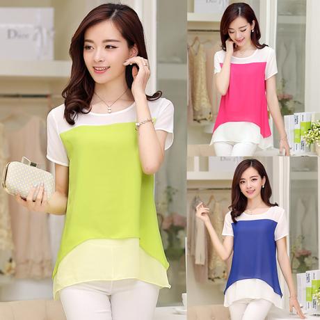 Summer 2014 new Korean women's dress code - a chiffon blouse, short sleeved stitching chiffon shirt female fashion(China (Mainland))