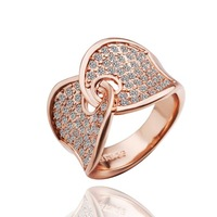 HOT Party Shine Ring Cute Sexy 18K Rose Gold Filled Crystal Women Lady Fashion Ring Jewelry Personality