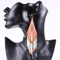 [Free Style] Handmade Hot Sell costume Drop Dangle Tassel Earrings 2014 New Vintage Fashion Jewelry Accessories Full Of Beads