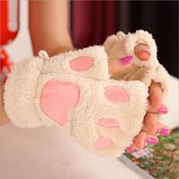New free shipping  Fashion Winter Arm Warmer Fingerless Gloves, cute cat bear paw Fur Trim Gloves Mitten
