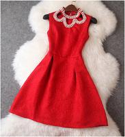 2014 New Fashion Desigual Jacquard Women Dress Collar Beading Printing Slim Dress Evening Dresses Queen Temperament 2082