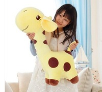 huge 85cm yellow giraffe plush toy cartoon spotted giraffe doll, throw pillow ,girlfriend pillow ,Christmas gift b4686