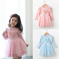 Retail 2014 new spring autumn children's clothing girls casual princess dresses kids rose heart pattern long-sleeve party dress