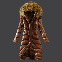2014 New Arrival Hooded Down Jacket Warm Winte Jacket With Fur Collar White Duck Down Brown Khaki Red Black Lady Down Coat Parka