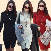 New 2014 Autumn Winter Dress OL Women's Slim Long Sleeve Package Hip Knitted Dress Plus Size Turtleneck One-Piece Dresses