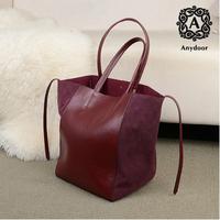 Any door fashion vintage colorant match suede cowhide shoulder bag brief women's genuine leather handbag dumplings bag