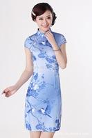 Free Shipping Women's Fashion Vintage Short Cheongsam Dragon&Phoenix QiPao Dress size :S-XXL