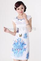 Women's Fashion  Short Cheongsam Dragon&Phoenix QiPao Dress size :S-XXL