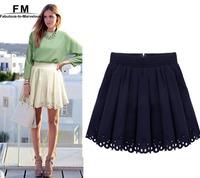 Wholesale Mini Pleated Tennis Skirt New Skater skirt Women Saia Chiffon Hole Hollow Out High Waisted Skirt Plus Size SS13D005
