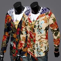 Hot Sale 2014 New Autumn Men's flower print jacket coat, Fashion Man Hoody,Casual Slim with a hood sweatshirt ,free shipping