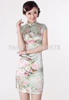 Free Shipping Women's Fashion printing Short Cheongsam Dragon&Phoenix QiPao Dress size :S-XXL