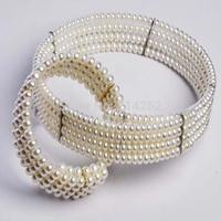 free shipping 1set 5mm genuine freshwater pearl flower shape necklace bracelet  517/