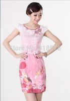 2014 new Women's Fashion beautiful Short Cheongsam Dragon&Phoenix QiPao Dress size :S-XXL