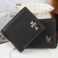 2014 Hot selling Genuine Leather men's wallet short design brand billfold fashion purse credit  card holder DROP SHIPPING QB20