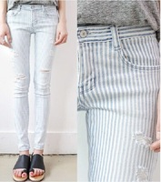2014 new arrival fashion vintage blue woman women's pants stripe destroyed ladies ripped Hole skinny denim jeans for women jeans