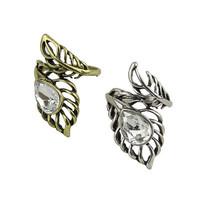 Euramerican vintage rings fashion hollow out leaves water drop gem ring,free shipping