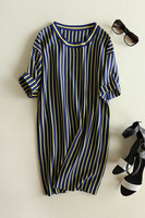 Women's formal brief color block vertical stripe pullover fifth sleeve knitted basic dress