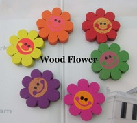100Pcs Cute Round Flower Wood Beads For DIY Children Necklace Bracelet Fashion Wooden Jewelry Spacer Mixed Colors