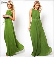 Lanluu High-end 2014 New Summer Sleeveless Long Dress Women Elegant Boheniman Beach Dress SQ810