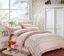 Beige geometric Korean princess bedding set bed linens 4pcs bedset 100% cotton falbala comforter cover bedsheet pillowcase B2850(China (Mainland))