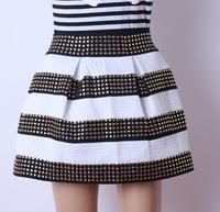 2014 New Woman's Black White Striped Skirt High Waist Punk Fashion Wild Rivet Elastic Ball Gown skirts For Woman