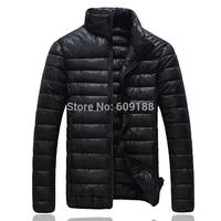 2014 Winter Men Warm Stand Collar Coat Parka Men Solid Color Cotton-padded Down Jackets 4 Colors Plus Size M-2XL