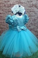 5pcs Children girl's 2014  frozen Short Puff sleeve princess Formal dress with sequins sky blue 1754