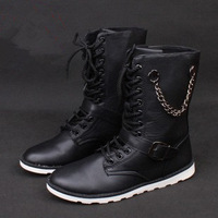 Male fashion martin boots gaotong shoes slip-resistant casual genuine leather the trend of fashion lacing elegant winter