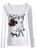 Women Tops Fashion 2014 New European Autumn Wear T-shirt Cartoon Girl With Dog Long Sleeve Female Render Unlined Upper Garment