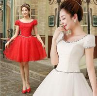 Fashionable Sweet Bow White Lace Short Wedding dress 2014 Red Double Shoulder Bandage dress vestido de noiva wedding dresses W75