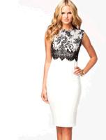 Free shipping new 2014 summer dress Sexy White Black Lace Overlay Sleeveless Midi Dress Free Shipping