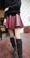 2014 New Arrival Hot Sale Free Shipping High Quality Fashion Korean PU Leather Skirt Tutu Skirts Pleated Leather Bottoming Skirt
