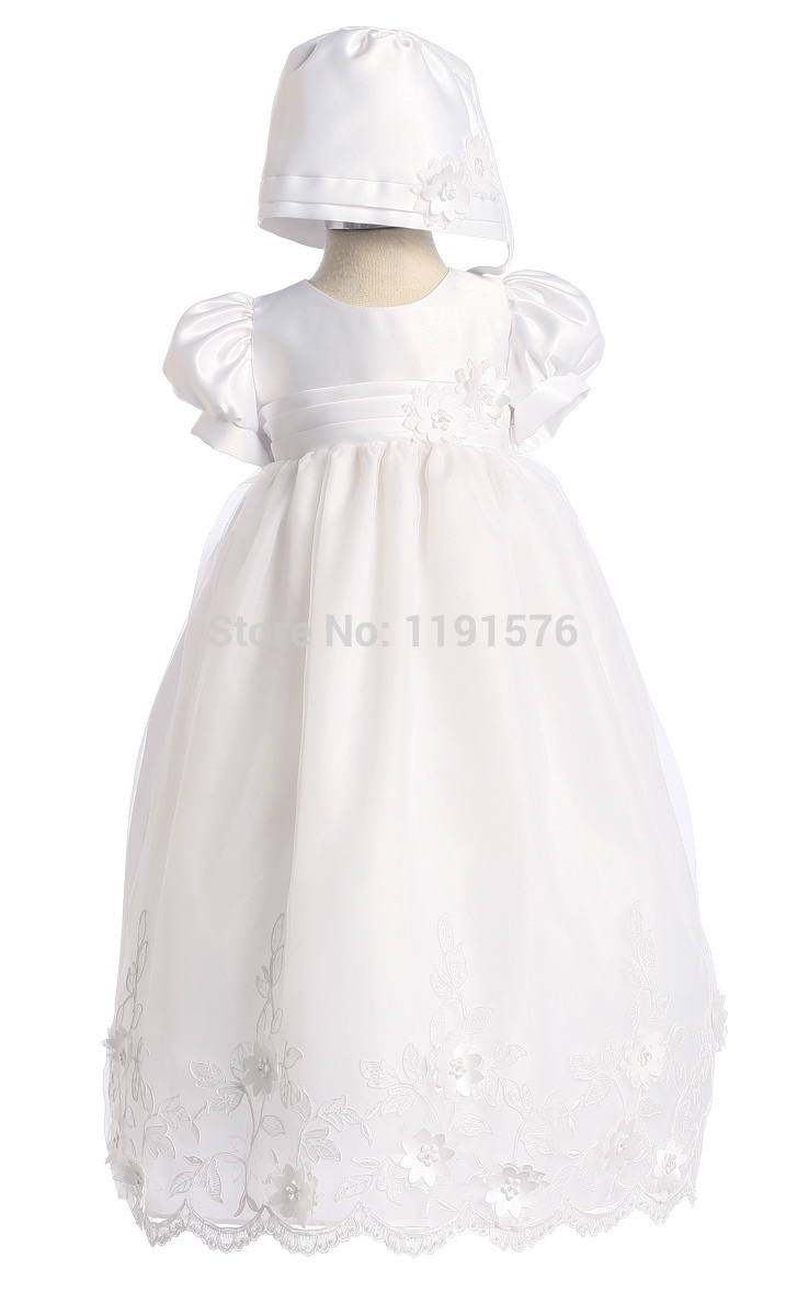 Lovely White Christening Gown Infant Baby Girl Easter Dress Flower Girl Christening Dress Baby Clothing(China (Mainland))