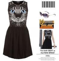 New cute Women's dress Sexy Kitten Face Print Clubwear Sleeveless Cat Dress For Free Shipping drop shipping wholesale