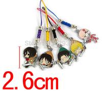 20PCS Cartoon Attack on Titan Shingeki no Kyojin Colored metal doll Mobile Phone Chain Lanyard Pendant Gift Cell  Accessories