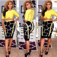 2014 new acid yellow black short sleeve two piece bandage dress wholsale dropshipping hl party evening dress celebrity dress