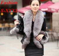HOT SALE !2014 Winter New Products Female Fur Coat Slim Full Sleeve Leather Jackets Blazer Women Fox Fur Outerwear E 89