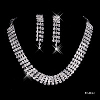 2014 New Arrival Women wedding accessories wedding jewelry Rhinestones necklace earrings Jewelry sets Ear Clip type 15039