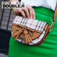 Mini cross-body bags 2014 women's handbag vintage tassel plaid canvas bag