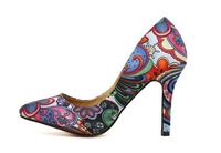 2014National style vintage pointed toe high heels sexy lady thin heels flower printed pumps
