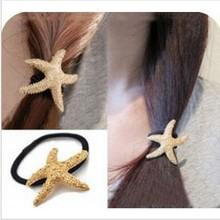 Charms Gold Metal Cheap Fashion Starfish Hair Rope Ornament Free Shipping  JWD32(China (Mainland))