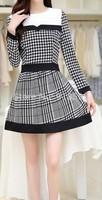 New 2014 Autumn Fashion Women Dress Stitching Slim Waist Houndstooth Women Dress Free Shipping Promotion Black And White Grid