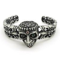 Cool Punk Style Biker Skull Bangle Bracelet, Vintage Fleur De Lis Stainless Steel Retro Crystal Eyes Skull Bangle Guarantee 100%
