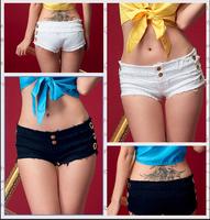Free shipping 2015 Summer Fashion sexy nightclub bar girl type water first Korean black white denim jeans shorts