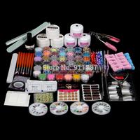 Hot Sale Po Acrylic Nail Art Tips Glitter Powder Brush UV Gel Top Coat Nails Tools Manicure Set Kit