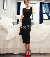 Free shipping korea style women's sleeveless  red basic summer bodycon dress o neck  UK kintted mid calf dress