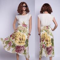 High quality women's long dress flower print dress plus size M,L,XL,XXL ladies one-piece dresses chiffon dresses