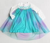 new arrival girls children frozen dress blue party casual kids summer princess dress Elsa lace Dresses free shipping KLL035