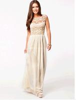 2014 Hot Sell Women Summer Sleeveless White Top Crochet Sexy Chiffon Maxi Dress